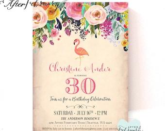 Flamingo Woman Birthday Invitation // Any Ages // Adult Birthday Invitation // Printable or Printed No.320