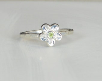 Small Flower Peridot  Ring, Silver Peridot Ring, Flower Ring, Forget Me Not, Flower Jewelry, Sterling Flower Ring, Peridot floral ring