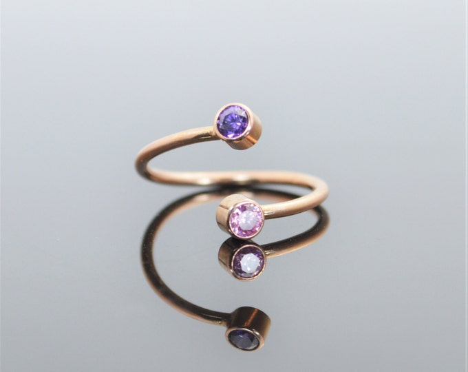 Rose Gold Bypass Ring, Bypass Ring, Wrap Ring, Dual Stone Ring, Couples Ring, Two Stone Ring, Mothers Ring, Mothers Jewelry, Unique Ring