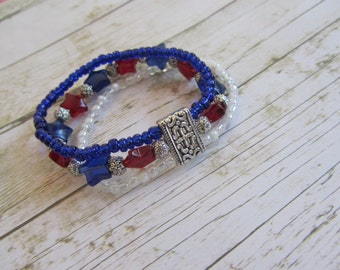 Patriotic Bracelet, Red White and Blue Bracelet, Americana Bracelet, Red Bracelet, Blue Bracelet, Star Bracelet, 4th of July Jewelry, Gifts