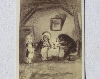 Thumbelina. Hans Christian Andersen. Illustrator Rudakov. Vintage Soviet Postcard - 1956. Izogiz Publ. Girl, Mouse, Mole