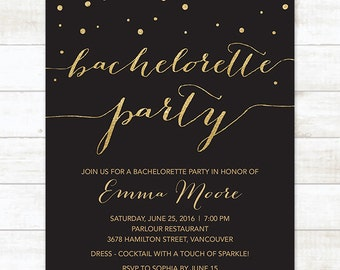 black gold bachelorette party invitation printable black gold glitter confetti modern stagette digital invite customizable personalized