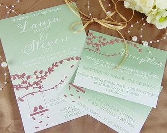 Merlot & Green Wedding Invitation, Wedding Invitation Set, Wedding Invitation Suite, Custom Wedding Invitation, Wedding Invitation Sample