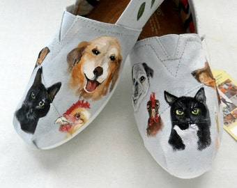 Fur Baby Hand Painted Shoes, Pet Memorial Custom Shoes, Wearable Art, Custom TOMS, Women's Shoes, Women's Hand Painted Custom TOMS, TOMS