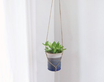 Vintage Small Sandstone Hanging Planter | Blue Ombré Plant Pot Holder, Pottery & Jute Hanger | Rustic Summer Decor | Succulent, Air Plant