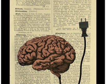 Brain Unplugged Steampunk Curiosity Anatomy - Dictionary Print Book Page Art