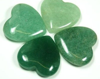 """1 One GREEN AVENTURINE Polished Crystal Healing Stone Heart 1"""" ~ For Jewelry & Crafts"""