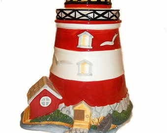 ON SALE WAS 45.00...Red and White Striped Cookie Jar