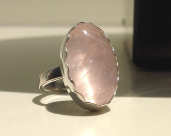 Rose Quartz ring in Sterling Silver / Size 7.75 / OOAK / Ready to ship / Made in Australia