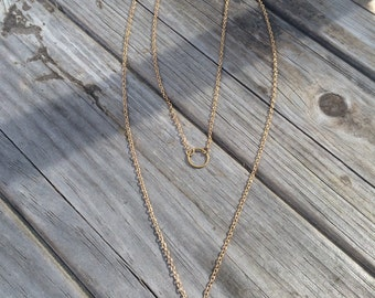 Layered Gold Circle and Drop Bar Necklace, Circle Necklace, geometric Necklace, Simple Necklace, long necklace