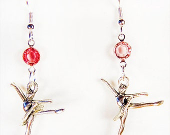 BALLET CHARM EARRINGS, ballet jewelry, ballet charms, ballet, pink crystal, Swarovski crystal, ballerina earrings, ballerina jewelry - 1332
