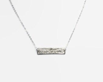Textured Silver Bar Necklace - Rhodium
