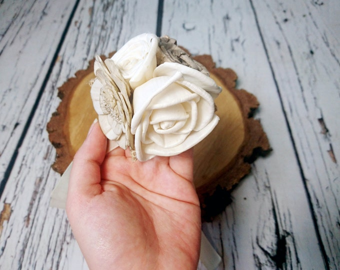 Cream rustic wedding Rustic WRIST CORSAGE bridesmaids boutonniere, Sola Flower, Wedding Flowers custom