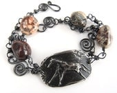 Primitive Cave Art Pewter Horse Bracelet with Chunky Jasper Nuggets, Natural Stone Bracelet, Rustic Horse Motif, Wild at Heart Bracelet