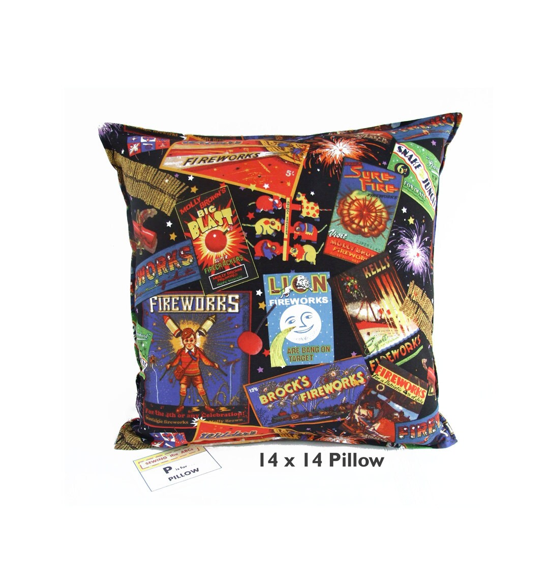 Man Cave Pillow With Cup Holder : Fireworks pillow cover man cave decor pillows mens