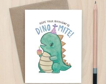 Dinomite Birthday - A2 Greeting Card