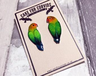 Lovebird Earrings Bird Studs Statement Earrings