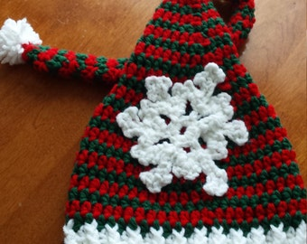 Elf Stocking Cap, Green and Red Elf Hat, 6-12 month elf hat