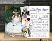 "LDS Girl Baptism Invitation, LDS Baptism Invitation, LDS Baptism Purple Invite, 5x7 Printable Digital File, ""Choose the Right"""