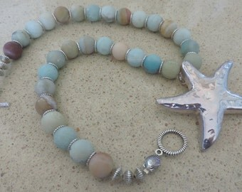 Frosted Amazonite Necklace,  Amazonite Sea Star Necklace, Amazonite Necklace,  Beach Necklace,  Cruise Necklace, Multicolor Necklace,