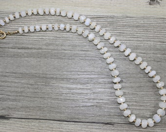 Rainbow Moonstone Rondelle Necklace With Gold Filled Faceted Beads / AAA Quality