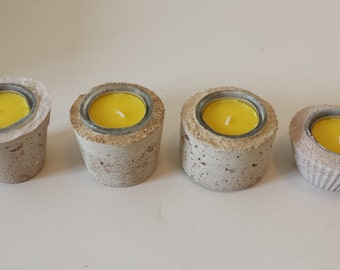 Handmade Citronella hyper tufa concrete tea light holder