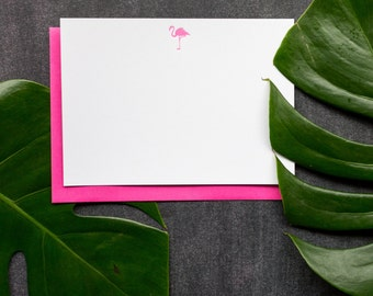 Pink Flamingo- Letterpress Flat Note Cards - Set of 6