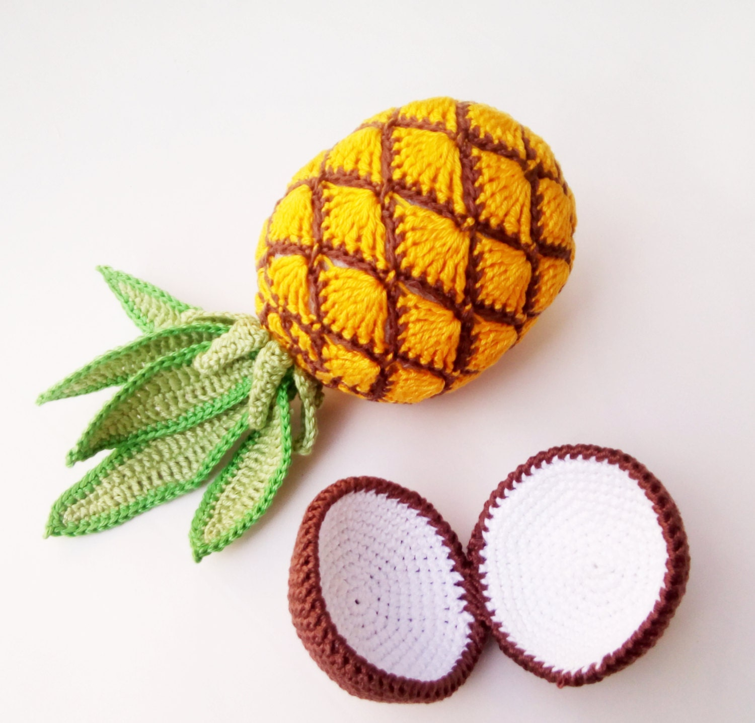Save fruit doll - 1 Pc Crochet Pineapple Toy Pineapple Amigurumi Fruit Doll Pineapple Plushie Sensory Toy Interactive Children Games