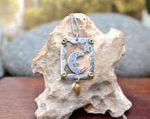 Sterling Silver and Brass Signed EMILY ITO Moon and Star Pendant on 22 inch Sterling Silver Box Chain