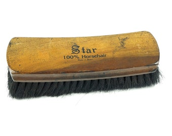 Made In Brazil Star Shoe Cleaning Brush Shine Men's Grooming Shoe Polish Care Antique Wooden Wood Old Gentleman Horsehair Horse Hair