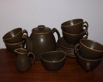 "Nice vintage retro 8 pcs Tea / Coffee set ""Peru"". Designed by Lillemor Mannerheim for Upsala-Ekeby, Sweden Scandinavian."