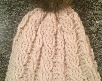 Crochet Cabled Ivory Hat with Faux Fur PomPom