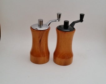 Salt and Peppermill set, Handcrafted, wood, Osage Orange