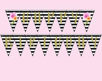 Happy Birthday Banner. Instant Digital Download. Black & White Striped, Pink Orange Flower. Koryn Collection