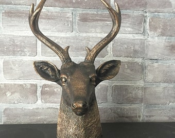 ANY COLOR Deer Head Bust Statue // Faux Taxidermy // Jewelry Hanger // Antler Decor // Bronze Stag Head // Wedding Centerpiece // Woodland