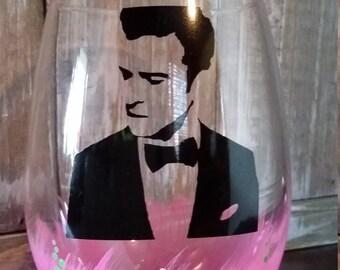 Justin Timberlake Glass/Wine/Pink/Gift/Stemless