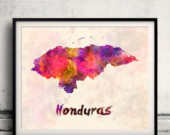 Honduras - Map in watercolor - Fine Art Print Glicee Poster Decor Home Gift Illustration Wall Art Countries Colorful - SKU 1990