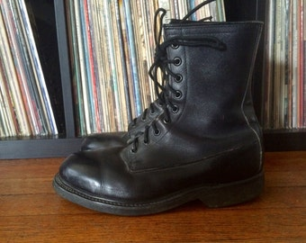 Vintage ARMY Black Leather Steel Toe Combat Work COMBAT BOOTS Size 7.5 8 Military Hipster Goth