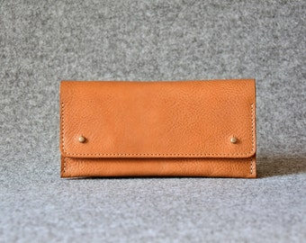 Womens Wallet - Leather Clutch - Camel Brown - Leather Purse, Clutch Bag