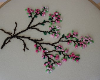 Japanese Sakura Cherry Blossoms Embroidery Hoop Art. Modern Wall Hanging. Beautiful Spring Fiber Art made with DMC Pearl Cotton