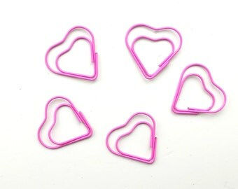5 pink heart shaped paper clips / planner clips