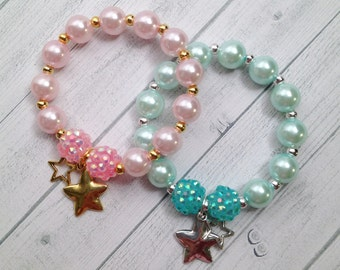 8 - Twinkle Twinkle Little Star Party Favor Bracelet Your Choice of Color Twinkle Twinkle First Birthday Baby Shower Favor Pink or Aqua