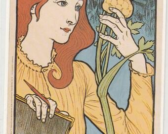 Dalkeith Great Britain Art Nouveau Woman Classic Poster Pub. In 1980s 3.5x5.5 Postcard