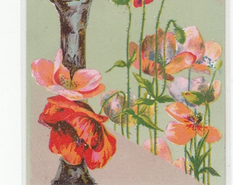 "Antique Postcard C1910 Alphabet Letter ""I"" With Poppies,Letter Is Grained Wood,Unused"