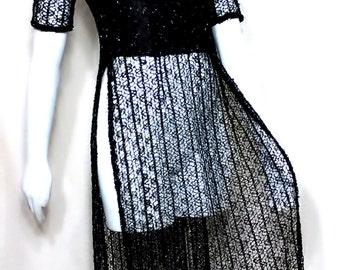 Sexy Black Sheer Knit Cheongsam Cocktail Dress