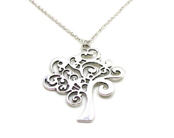 Silver Tree Of Life Necklace, Tree Of Life, Charm Necklace, Charm Jewelry, Ancestry Charm, Family Tree Necklace, Pewter Tree Of Life Pendant