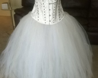 Steampunk wedding dress, white studded corset, white steampunk bridal corset, with bronze studs, chains, & gears, white and ivory skirt