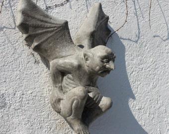 Stone Winged Gargoyle - Garden Wall Decor - Garden Ornament - Made in Cornwall  by The Cornwall Stoneware Company