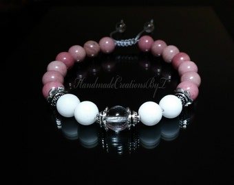 Clear Quartz, White Jade & Rhodonite Bracelet, Shambala Gemstone, Silver, Prayer, Mala, Yoga, Macrame Adjustable Knot Jewelry, Women