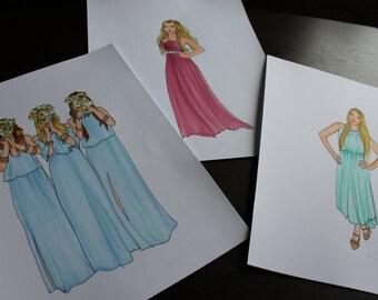 Custom Prom/Wedding Dress/Bridesmaid Illustration